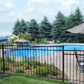 backyard pool with security fence